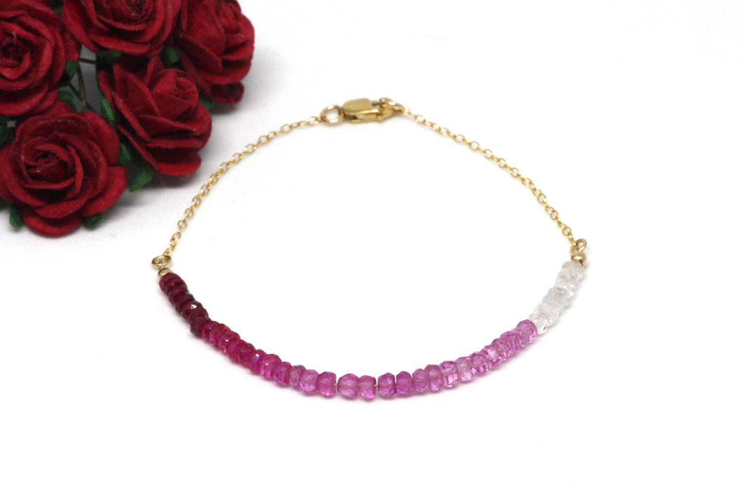 Ruby Ombré Gemstone Half Bar Bracelet