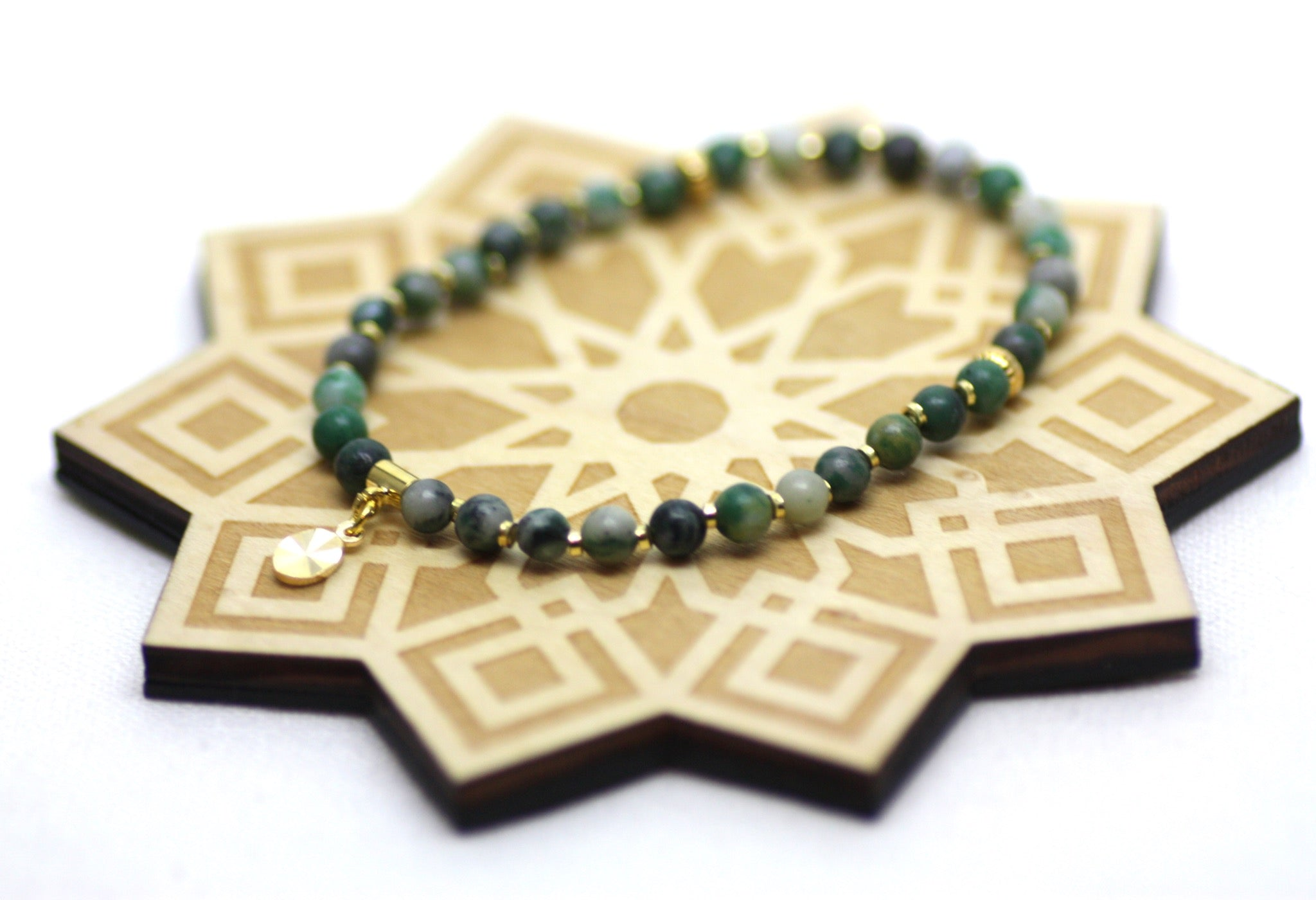 Ching Hai Jade and Gold Wrist Tasbih