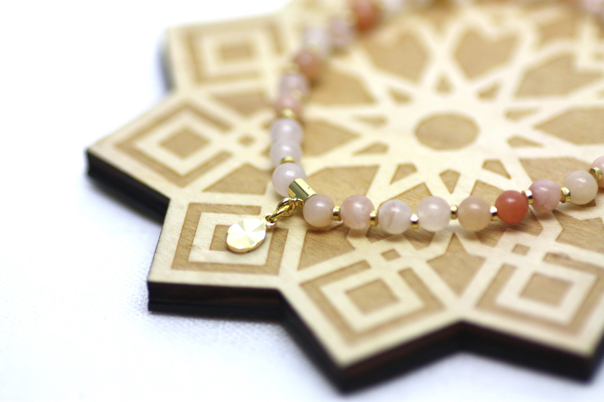 Pink Aventurine and Gold Wrist Tasbih