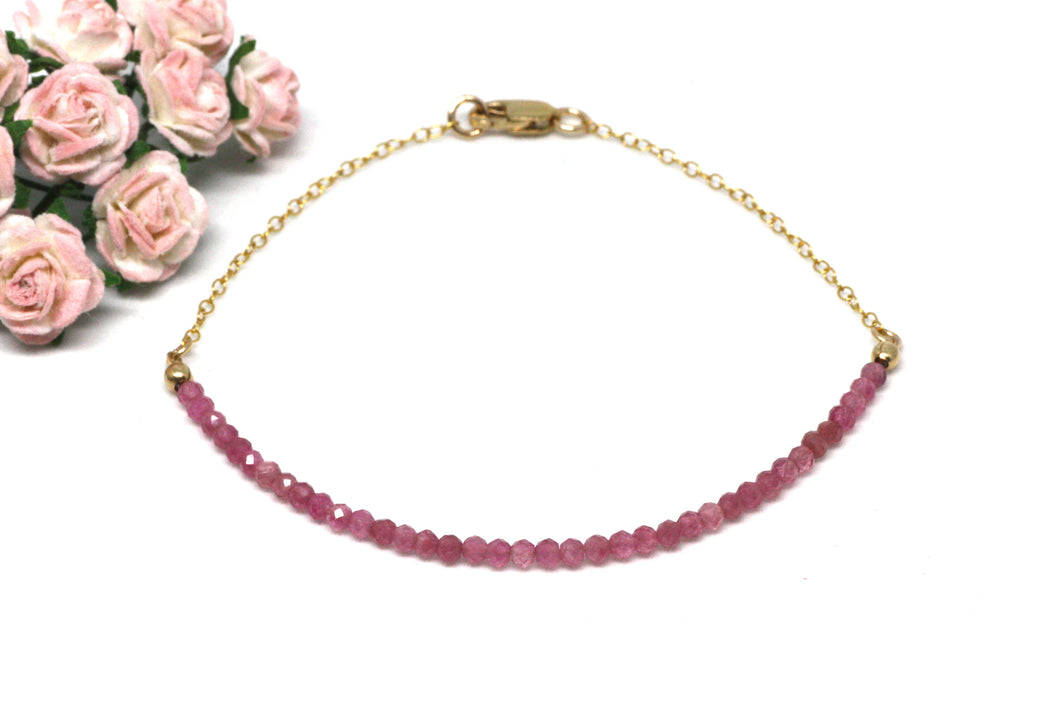 Pink Tourmaline Gemstone Half Bar Bracelet