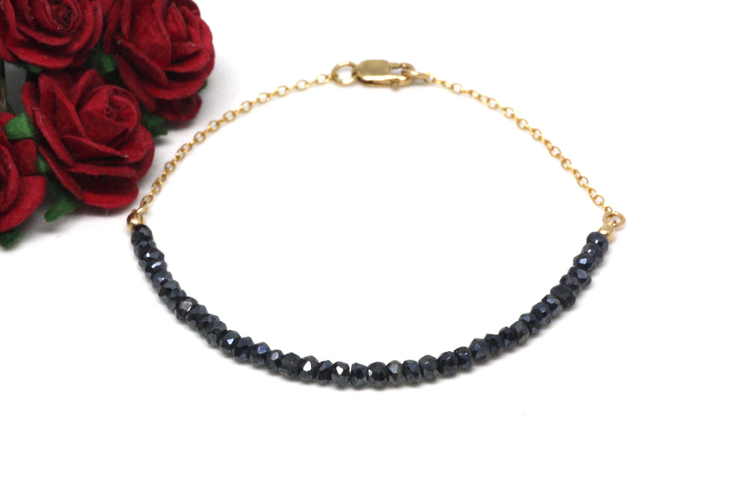 Black Spinel Gemstone Half Bar Bracelet