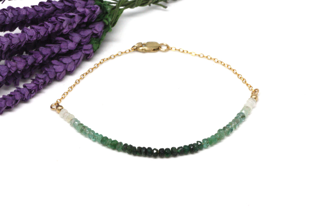 Emerald Ombré Gemstone Half Bar Bracelet