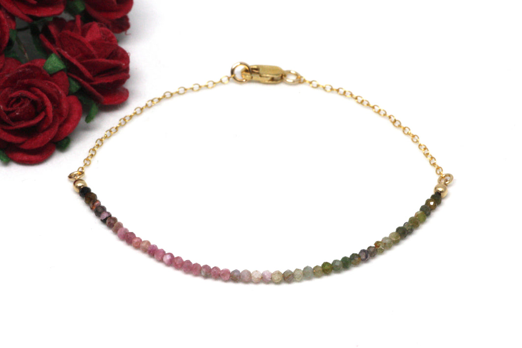 Watermelon Tourmaline Gemstone Half Bar Bracelet