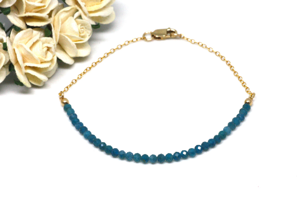Blue Apatite Gemstone Half Bar Bracelet