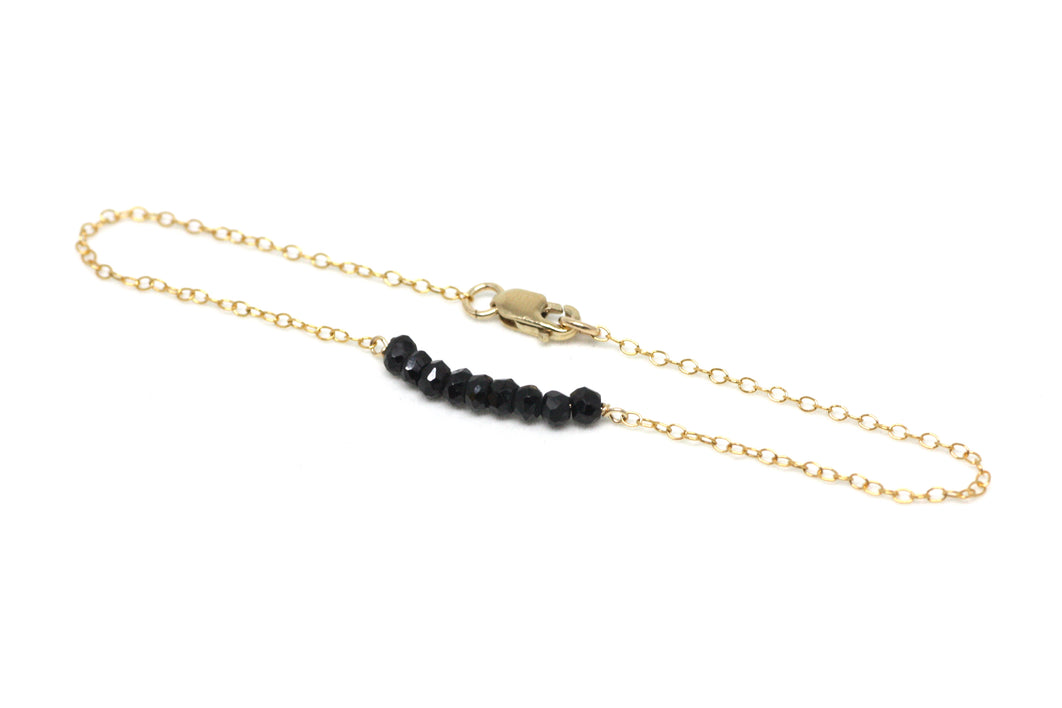 Black Spinel Petite Bar Bracelet