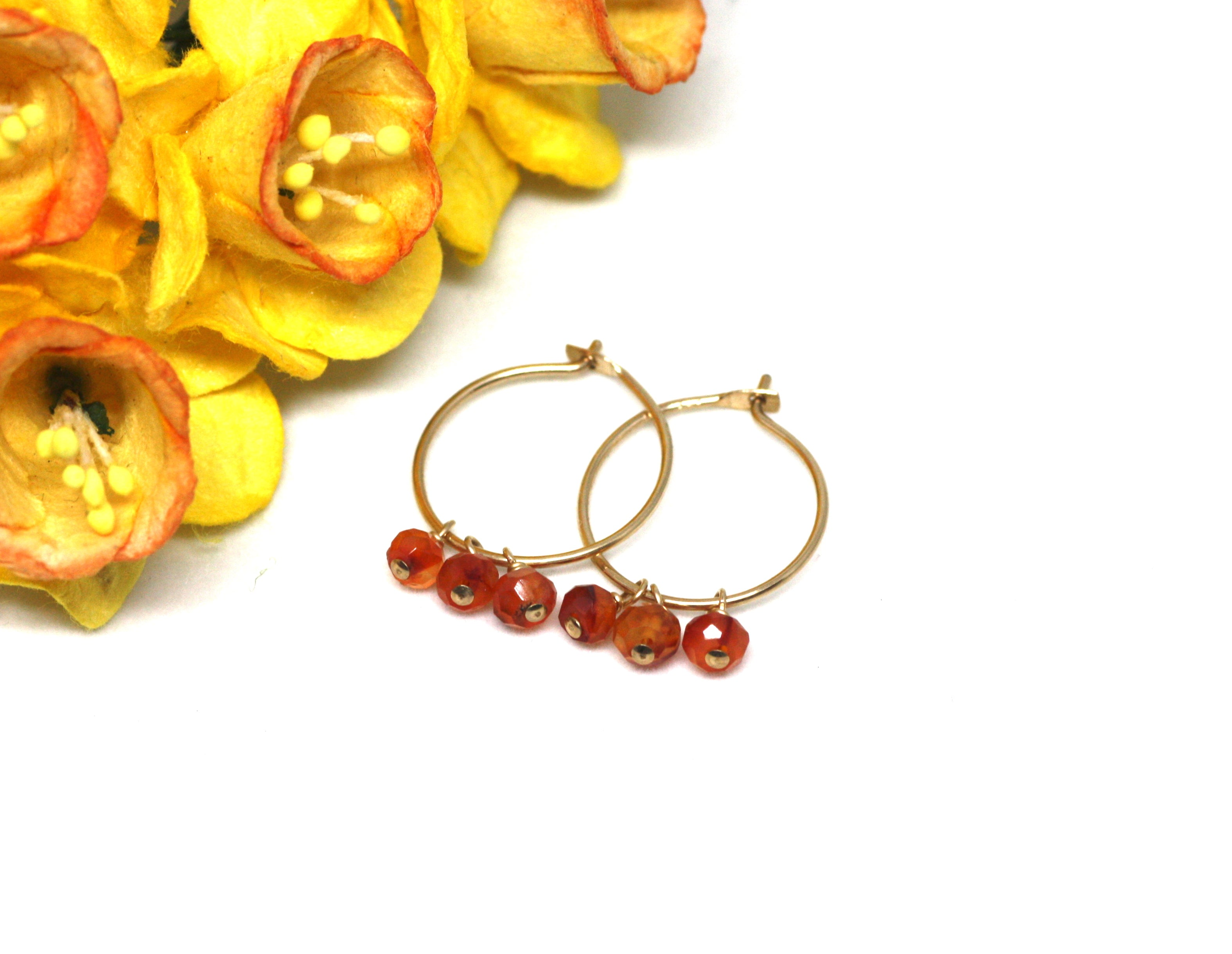 Carnelian Small Hoop Earrings in Gold