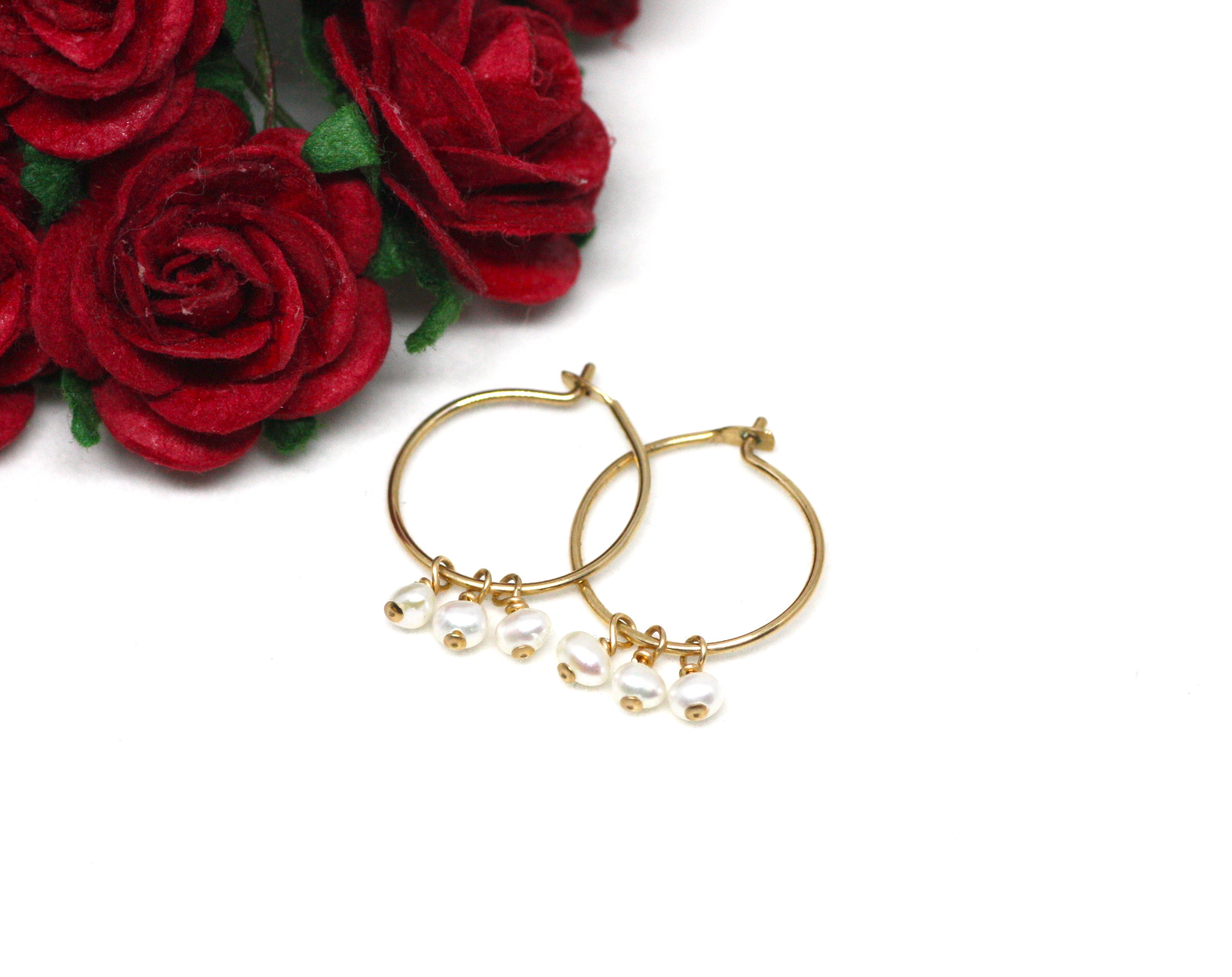 White Pearl Small Hoop Earrings in Gold