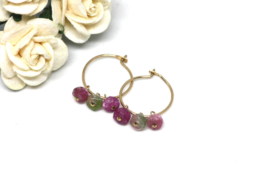 Watermelon Tourmaline Small Hoop Earrings in Gold
