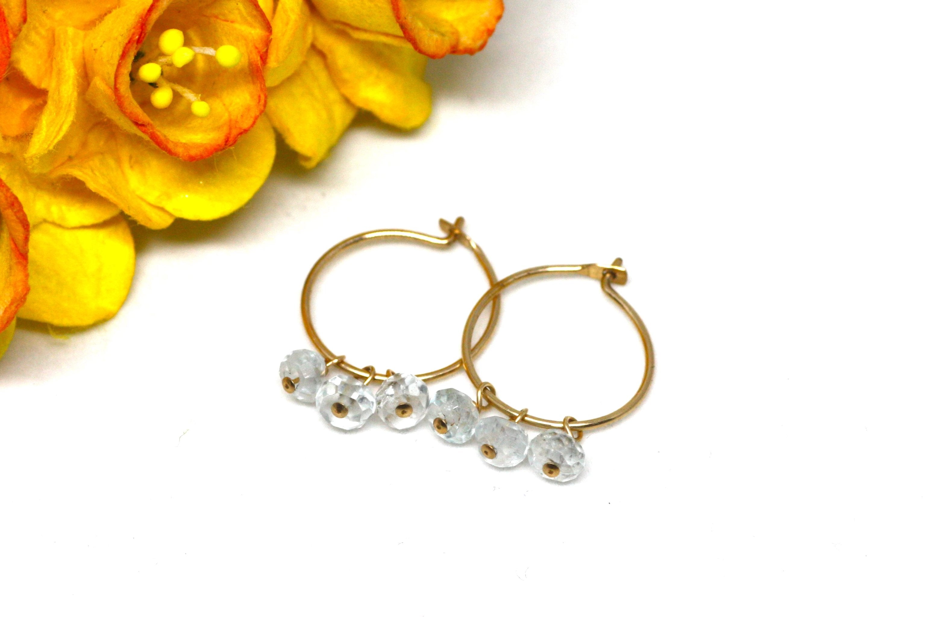 Blue Topaz Small Hoop Earrings in Gold
