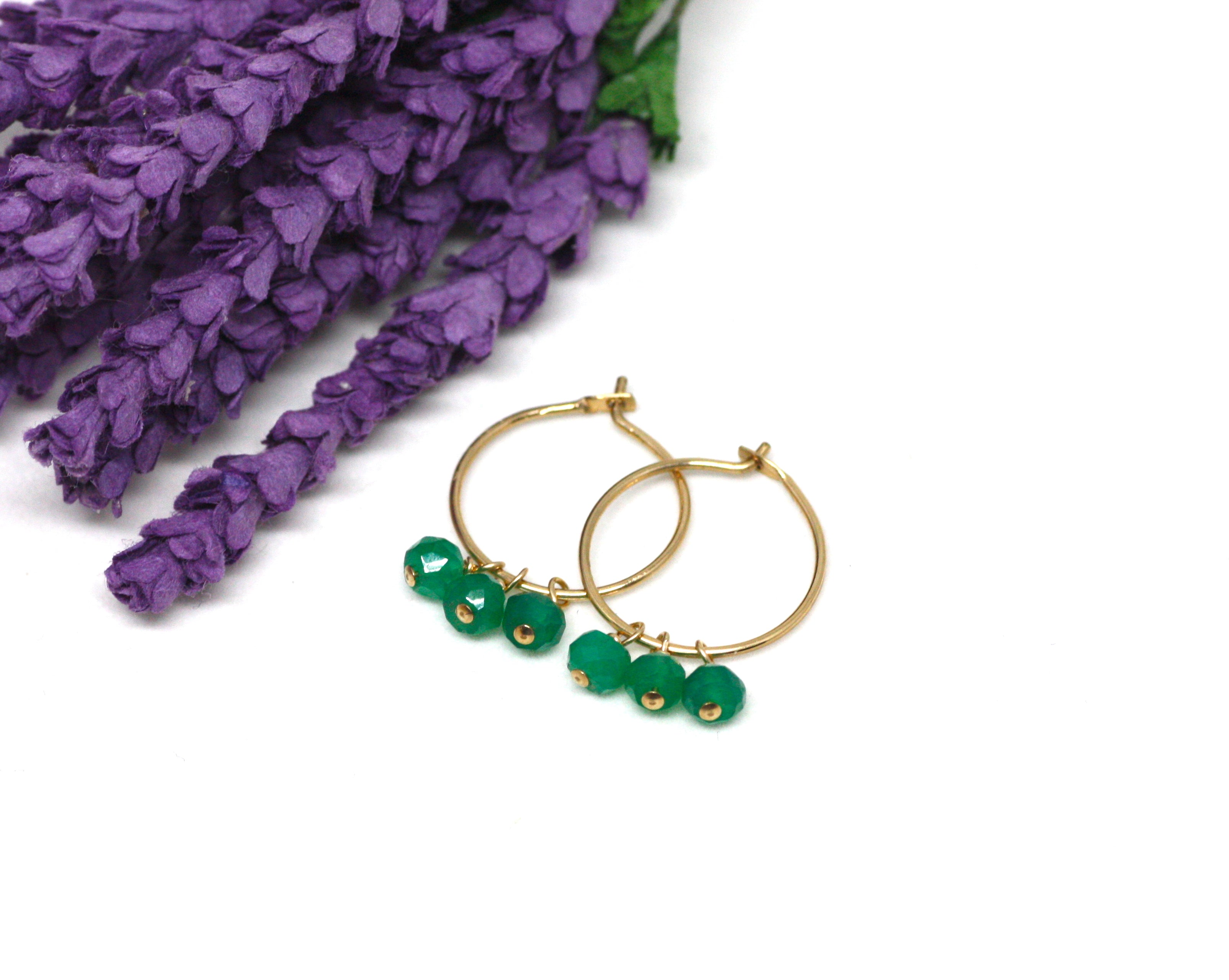 Green Onyx Small Hoop Earrings in Gold