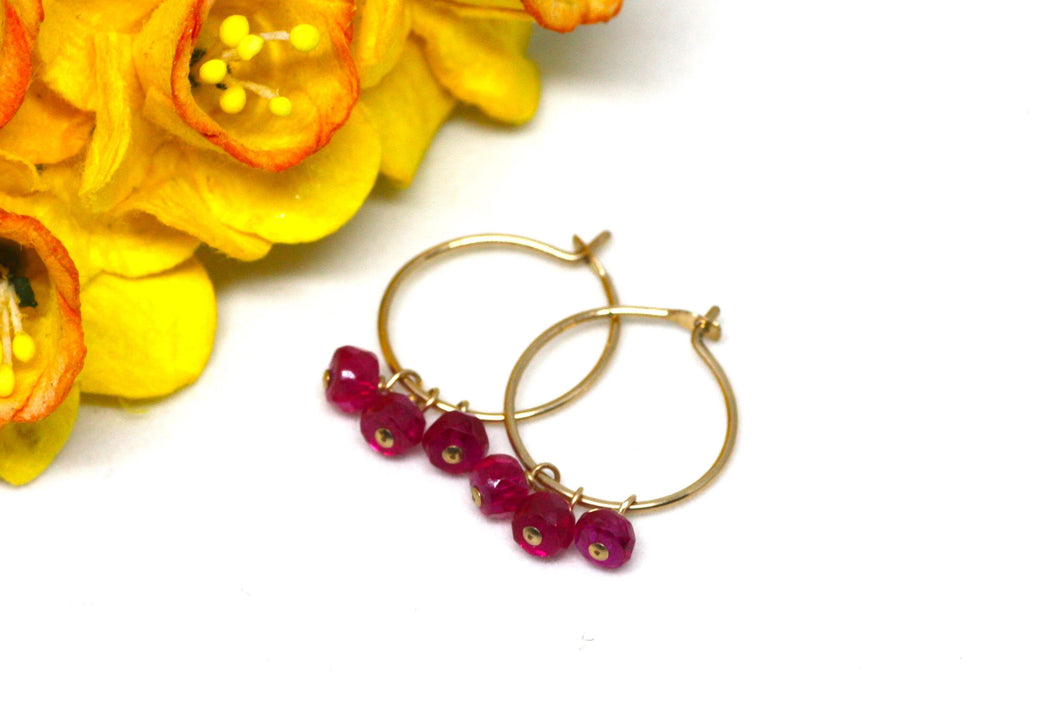 Ruby Small Hoop Earrings in Gold