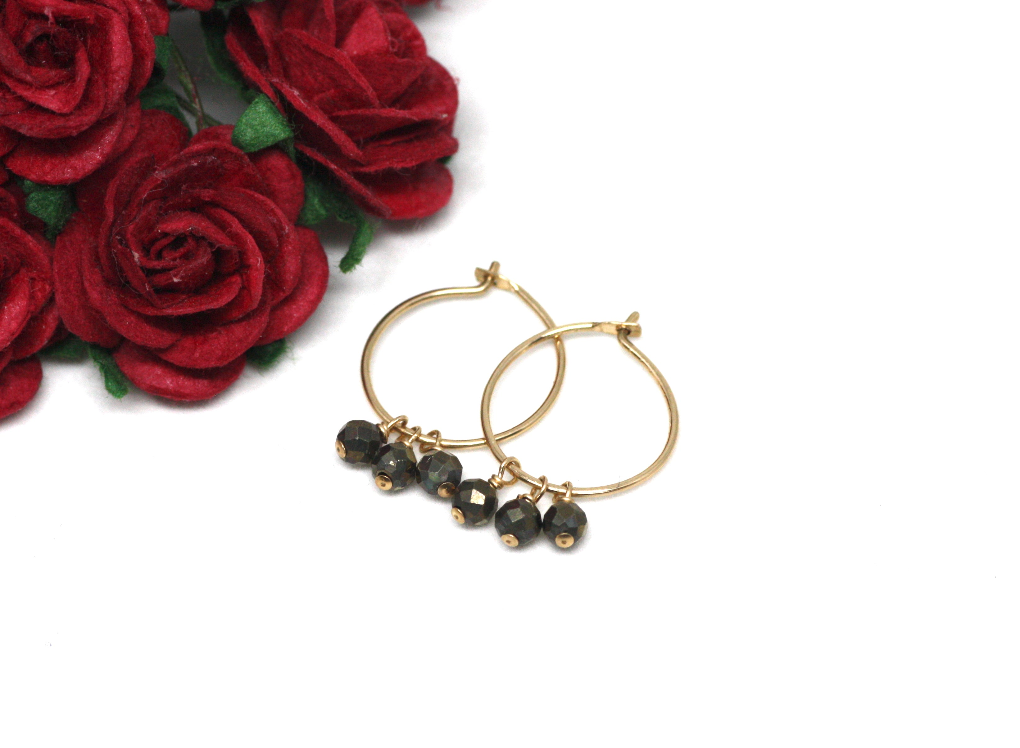 Pyrite Small Hoop Earrings in Gold
