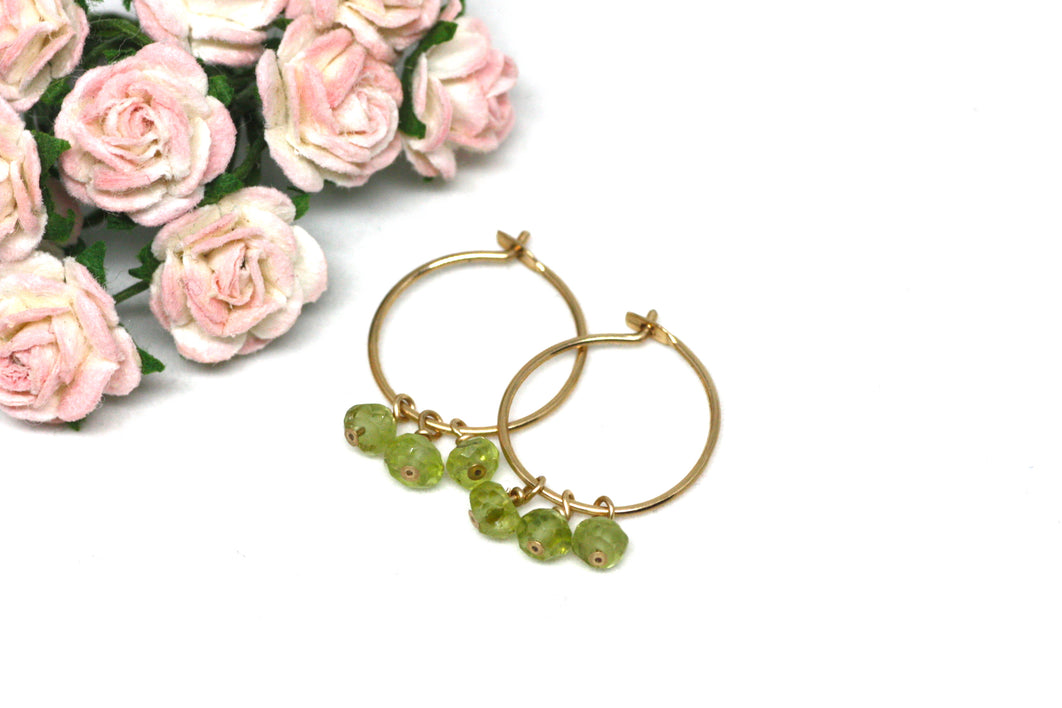 Peridot Small Hoop Earrings in Gold