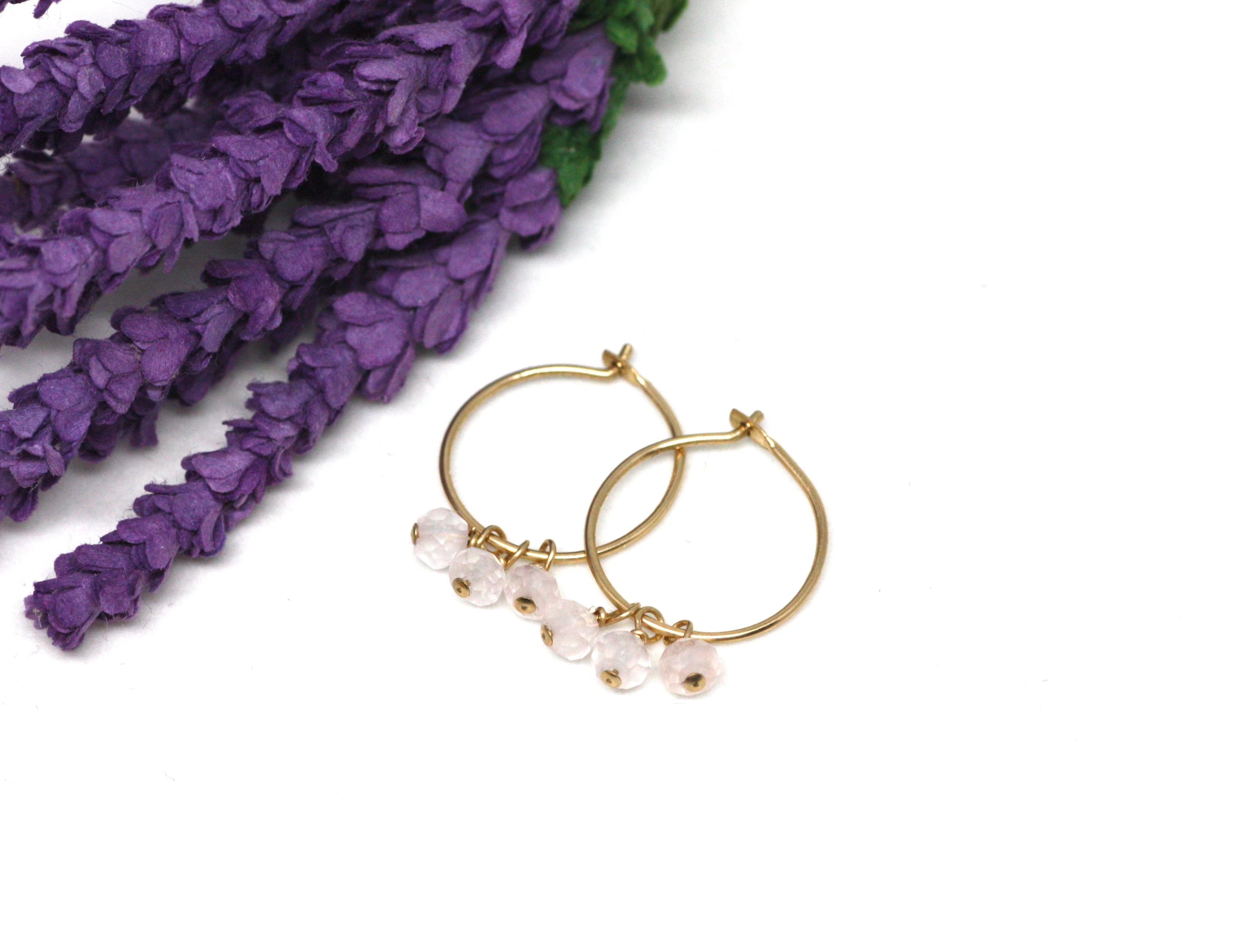 Rose Quartz Small Hoop Earrings in Gold