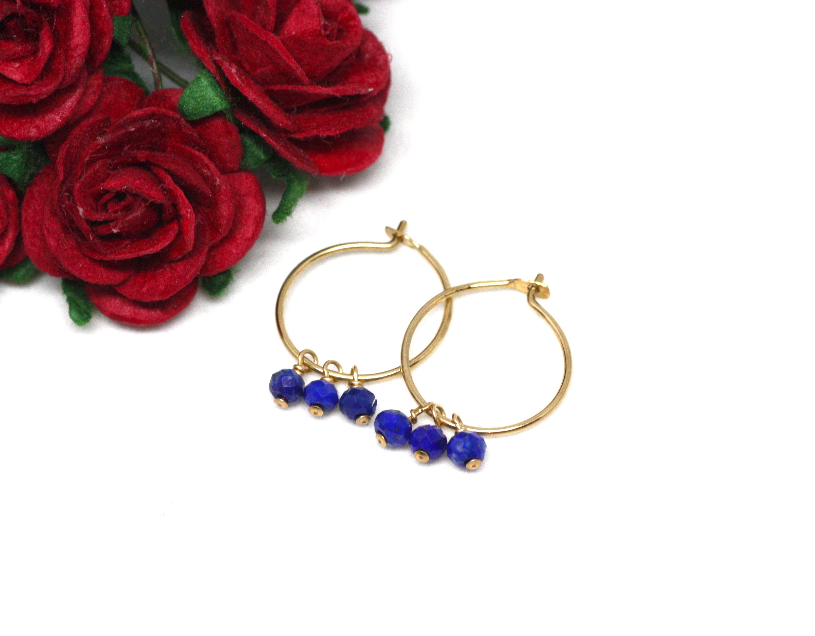 Lapis Lazuli Small Hoop Earrings in Gold