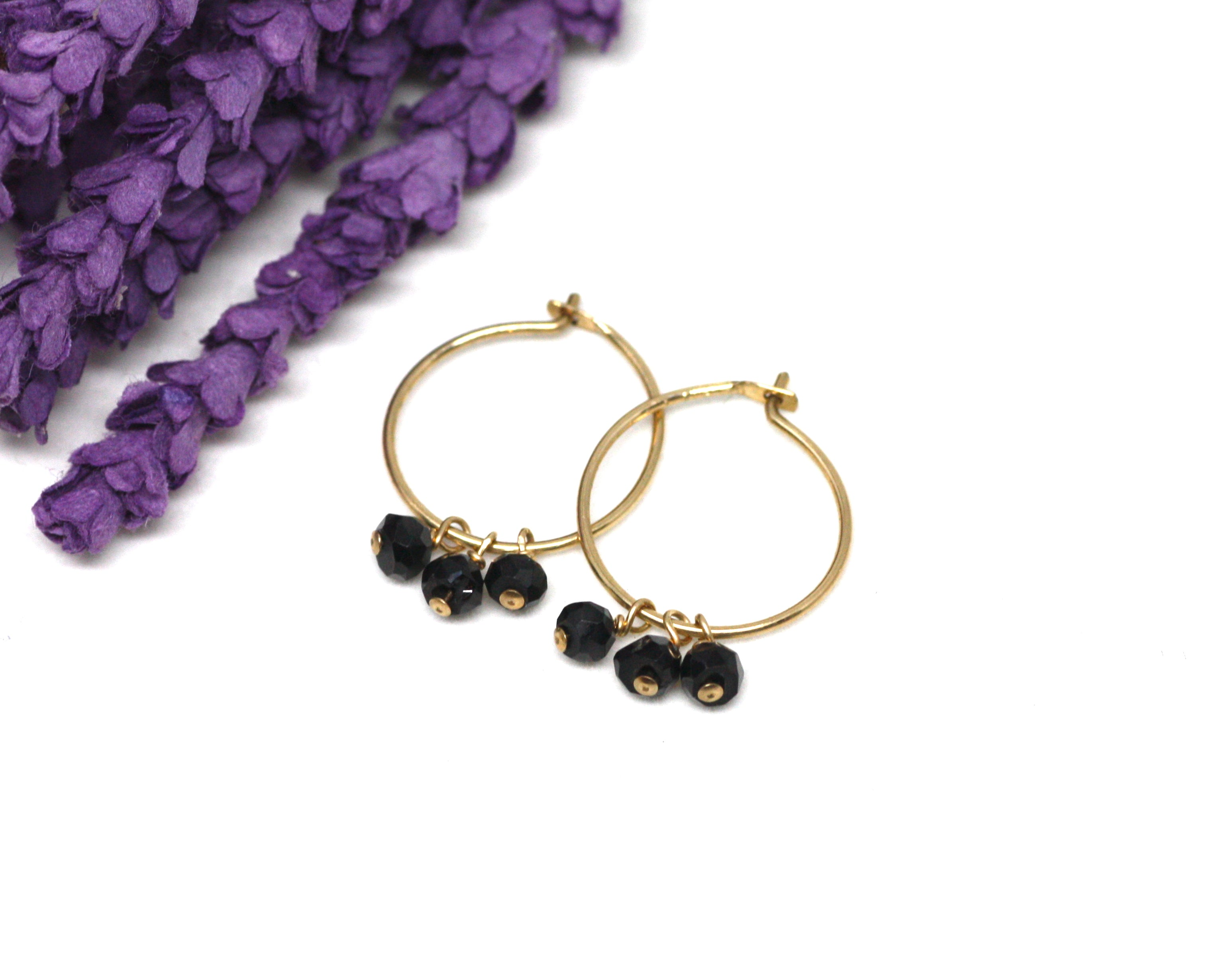 Black Spinel Small Hoop Earrings in Gold