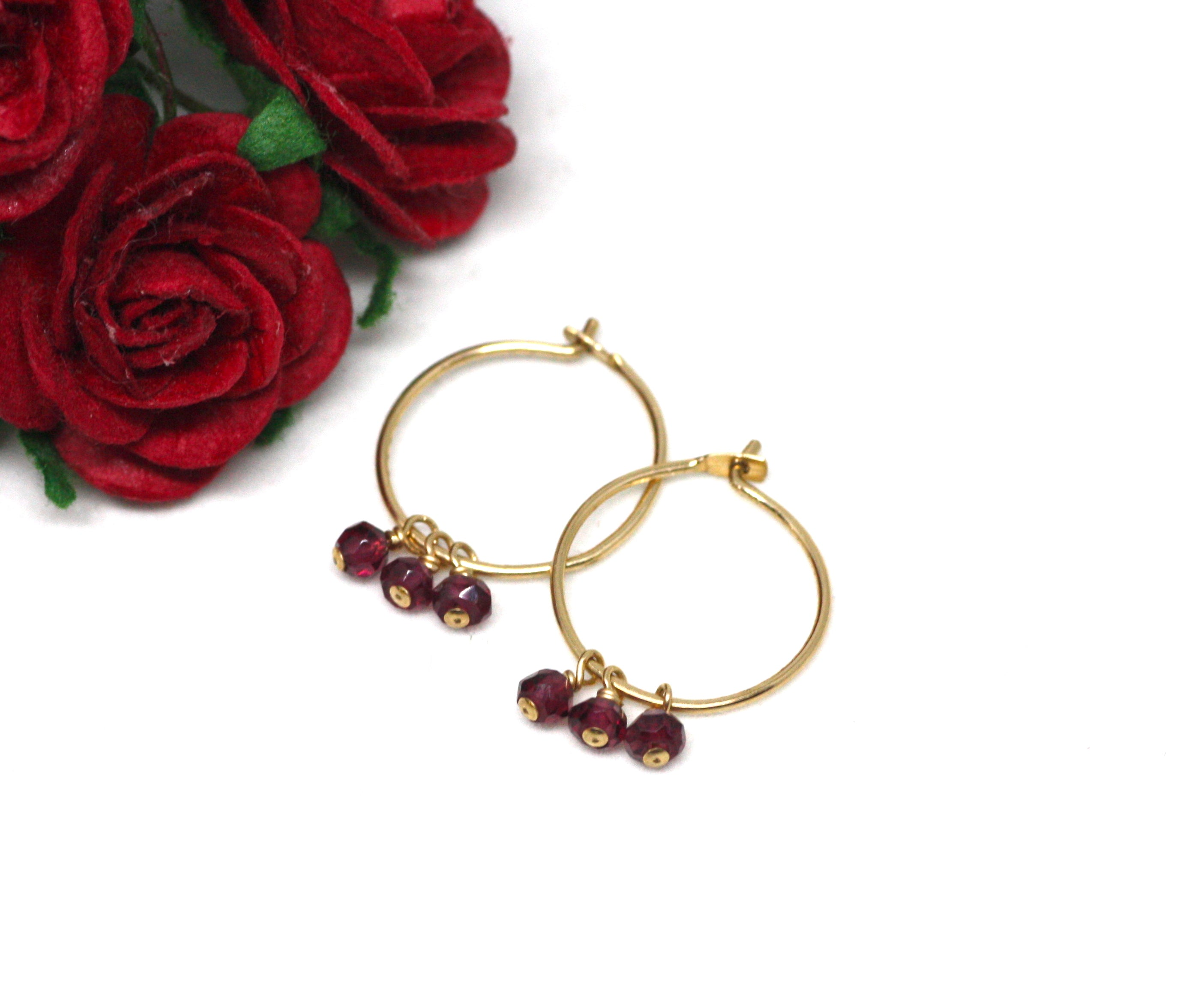 Garnet Small Hoop Earrings in Gold