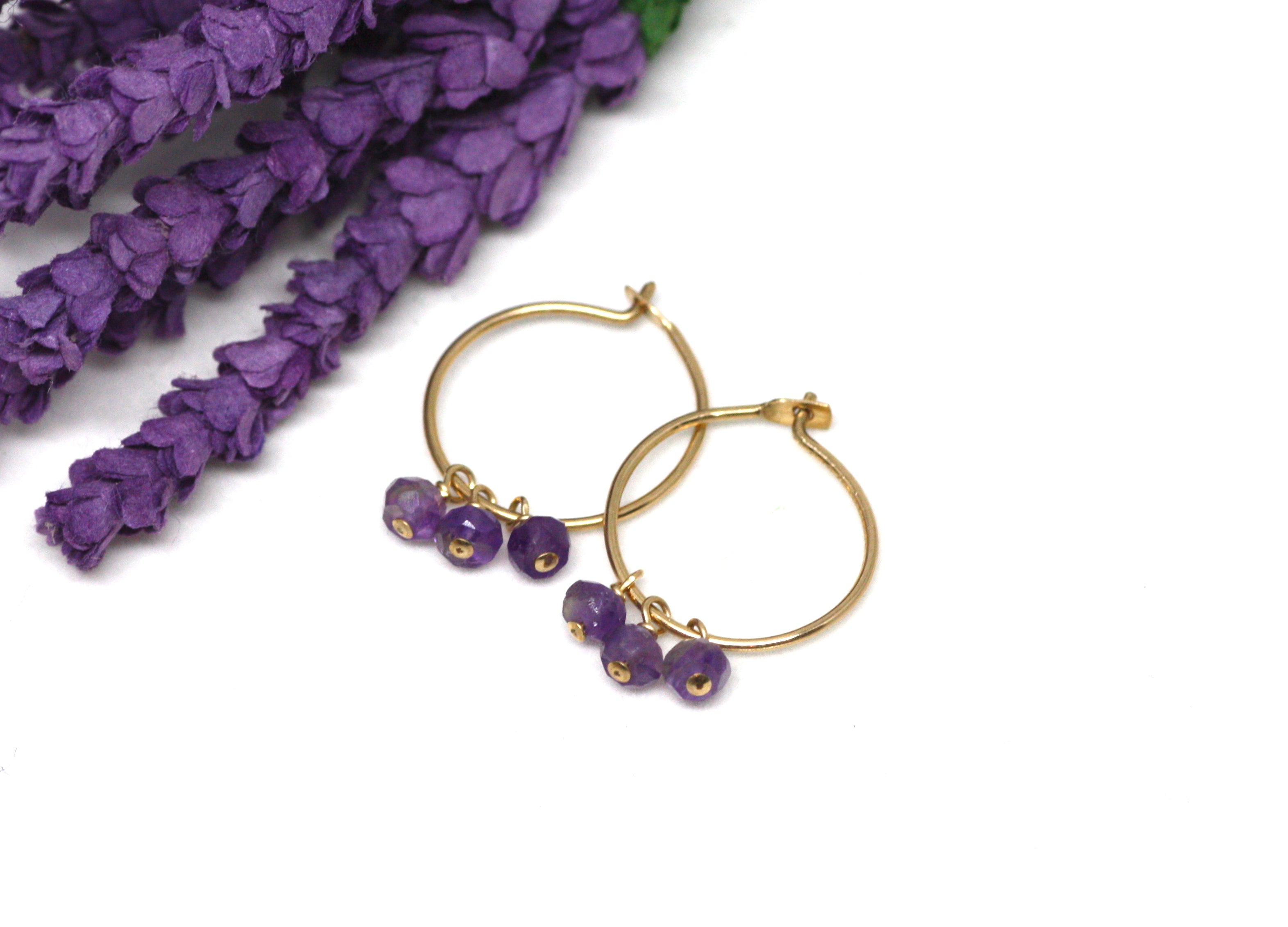 Amethyst Small Hoop Earrings in Gold