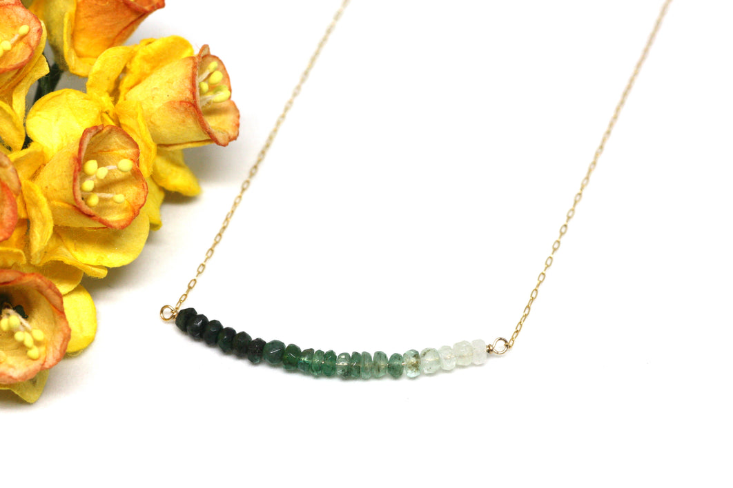 Emerald Ombré Bar Necklace
