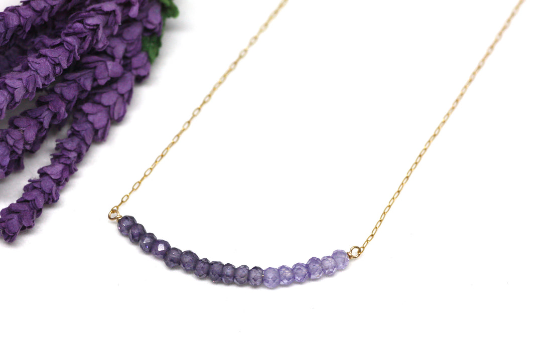 Amethyst Ombré Bar Necklace