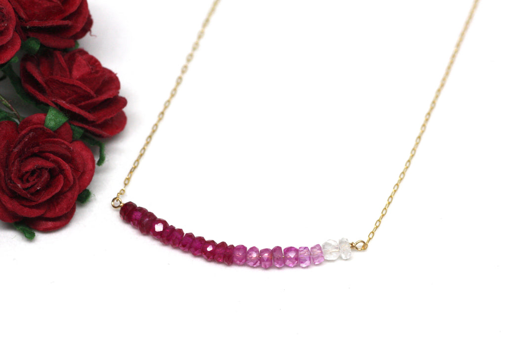 Ruby Ombré Bar Necklace