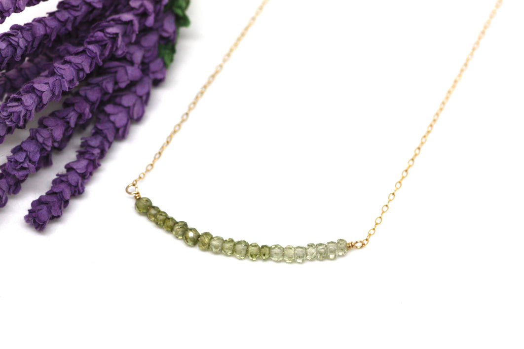 Peridot Ombré Bar Necklace