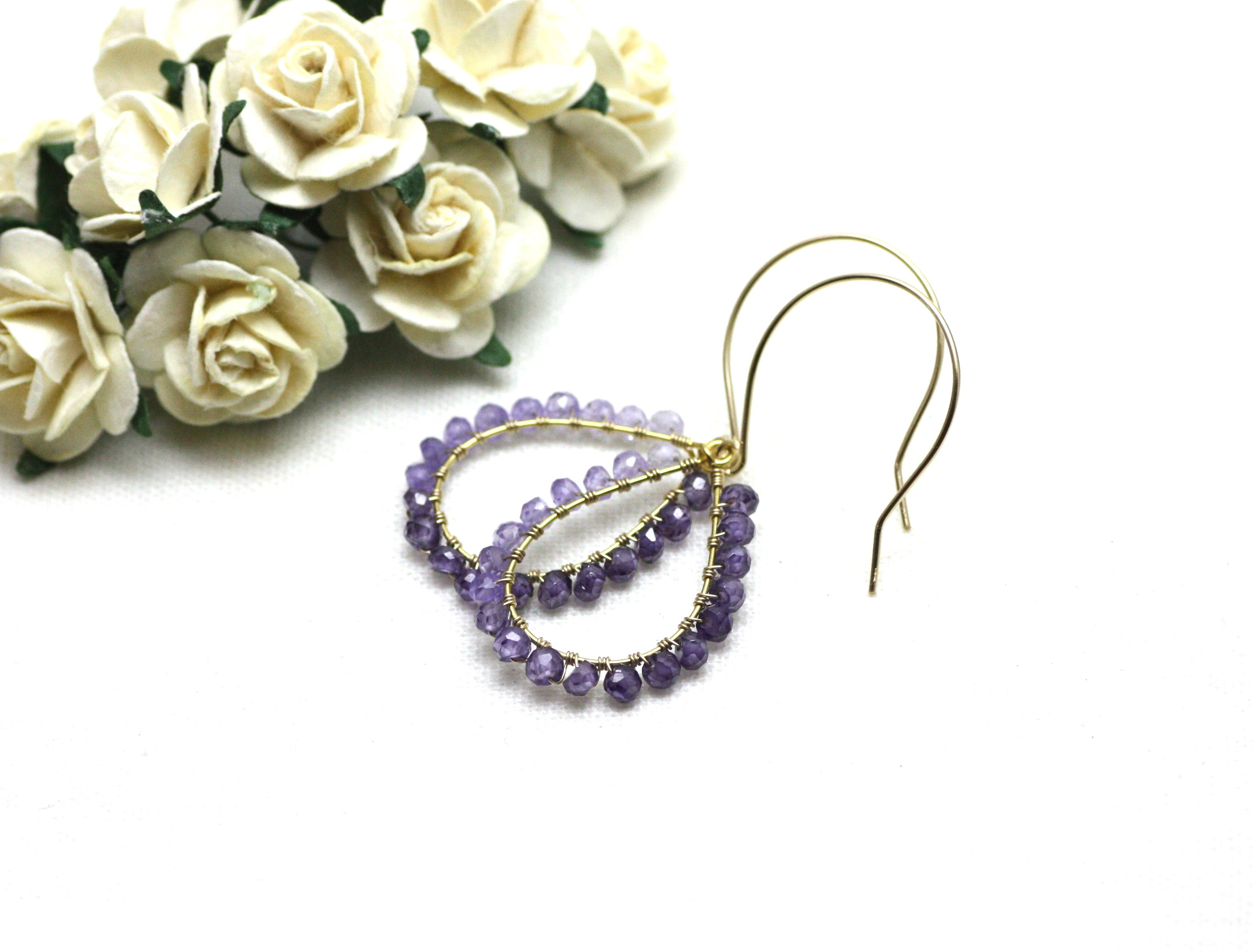 Amethyst Wire Wrapped Teardrop Earrings