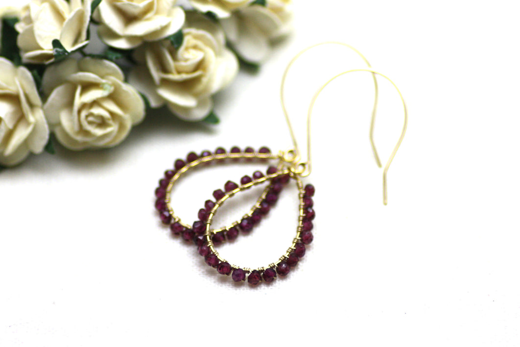 Garnet Wire Wrapped Teardrop Earrings