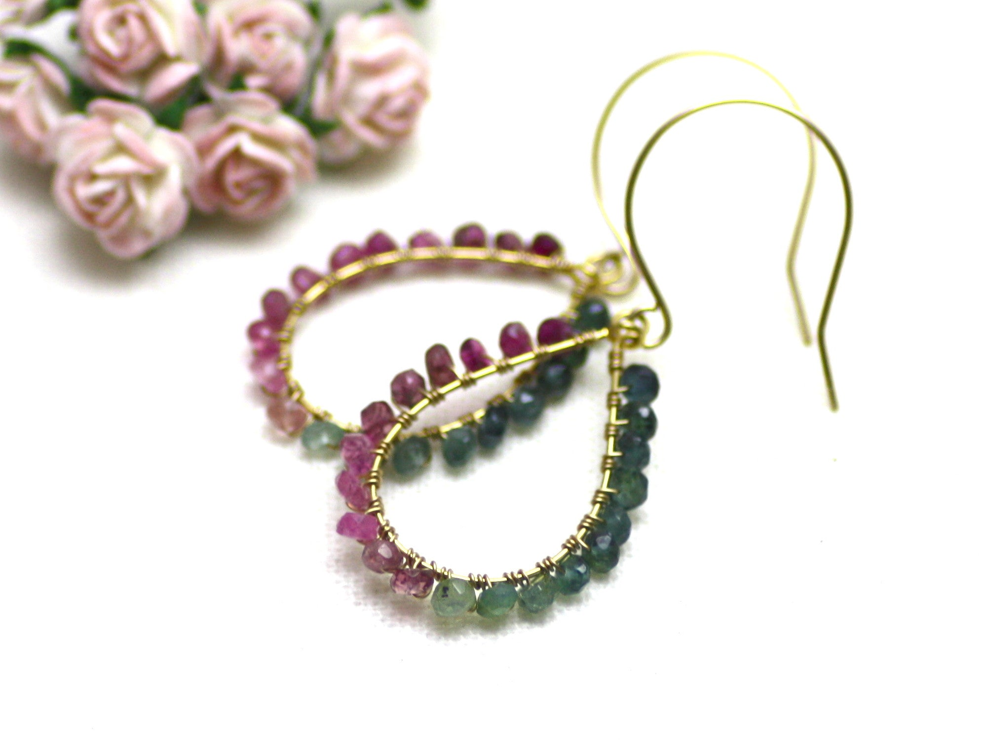 Watermelon Tourmaline Wire Wrapped Teardrop Earrings