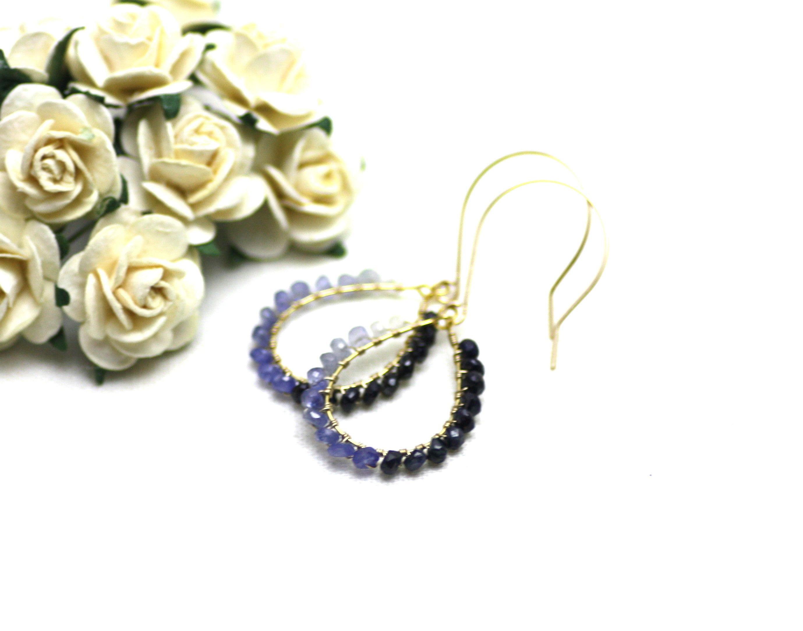 Sapphire Wire Wrapped Teardrop Earrings