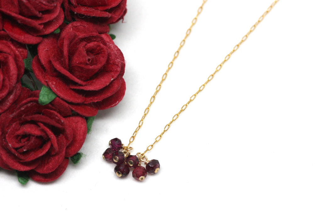 Garnet Mini Cluster Necklace