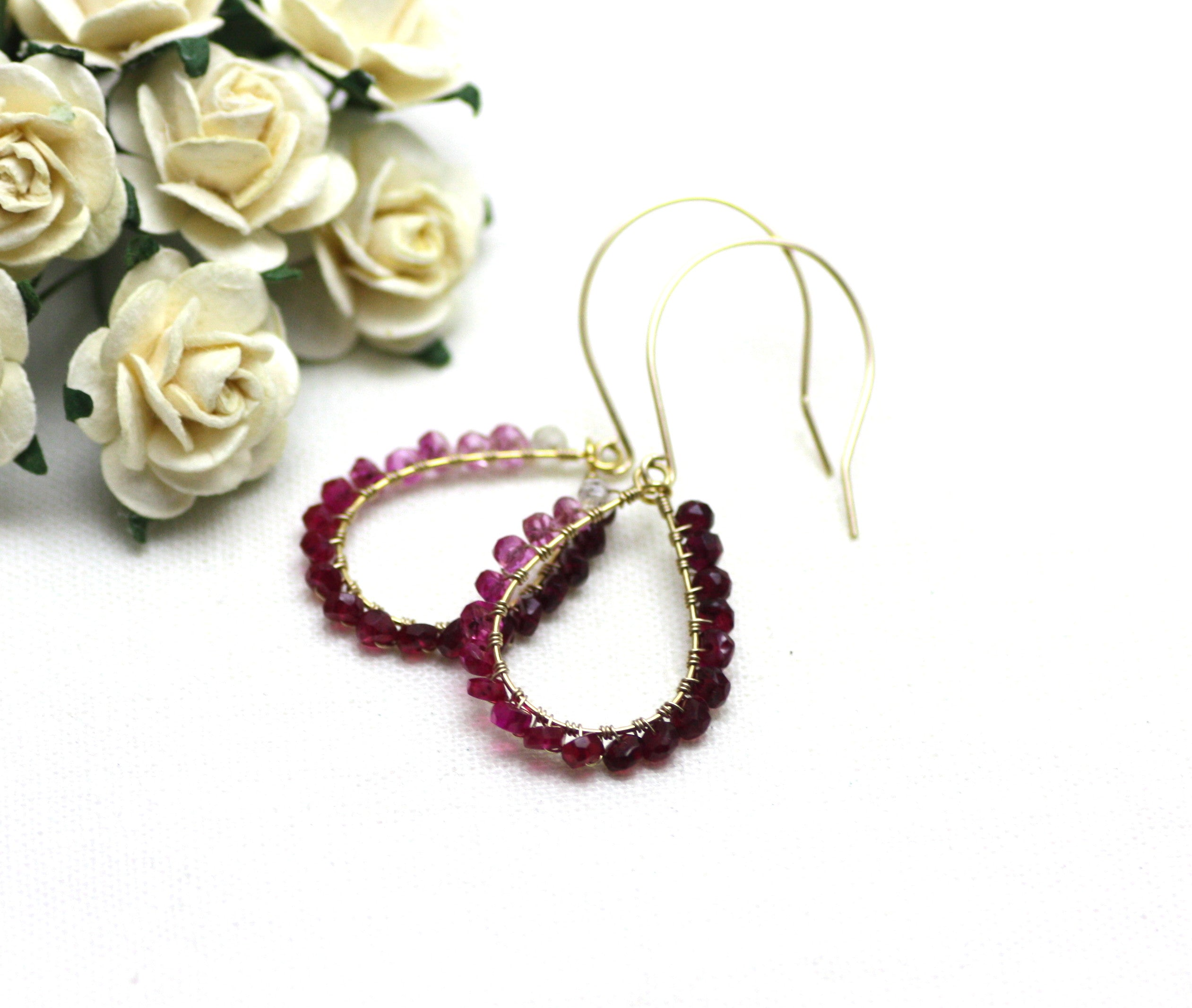 Ruby Wire Wrapped Teardrop Earrings