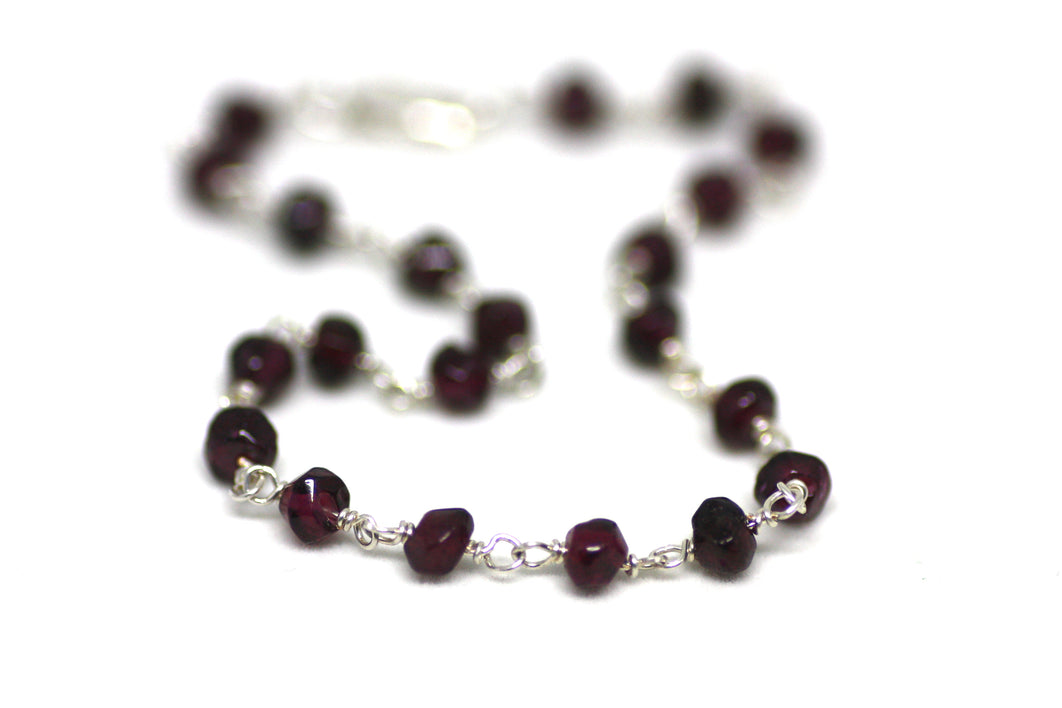 Garnet Rondelle Bracelet in Wire Wrapped Silver