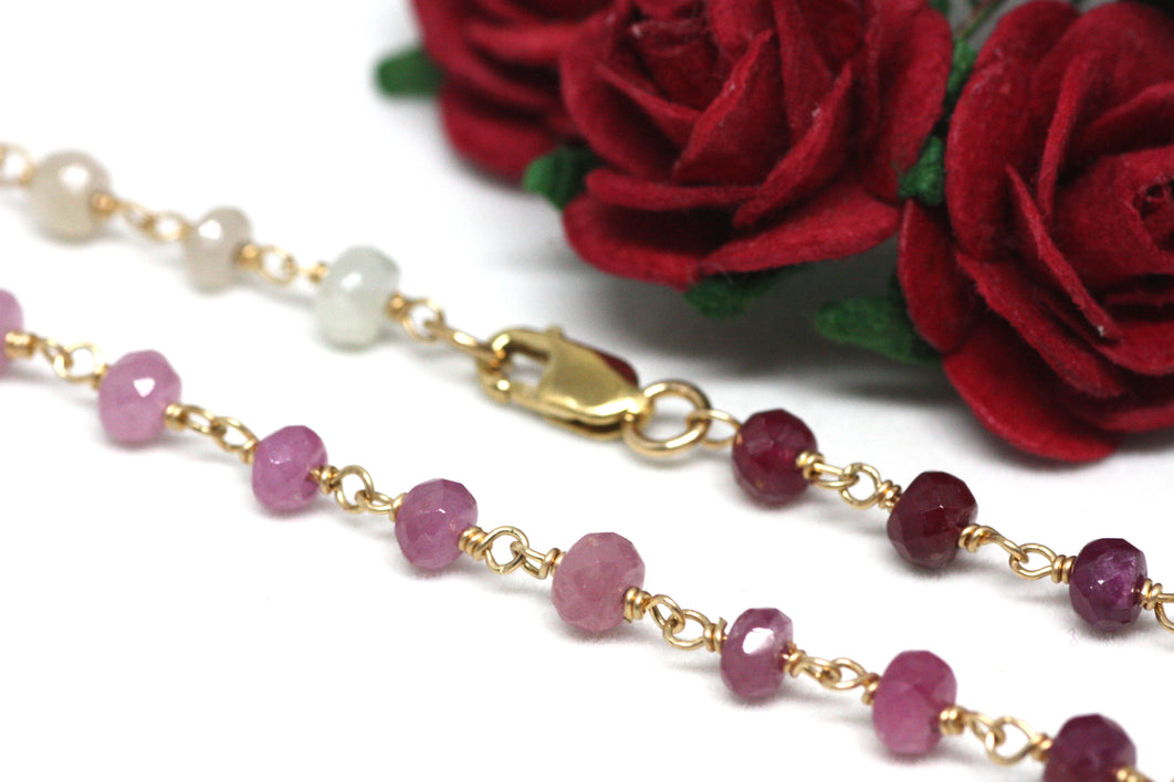 Ruby Gradient Bracelet in Wire Wrapped Gold