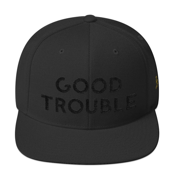 Good Trouble Black on Black Wool Blend Snapback