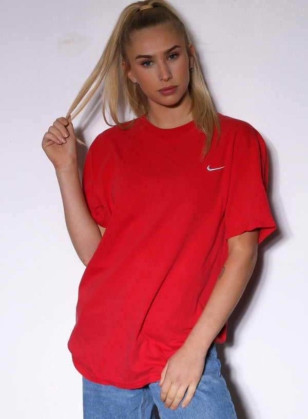 90'S NIKE RED WITH SILVER SWOOSH TEE *PIN HOLES IN FRONT* (L)