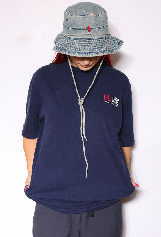 90'S NIKE KHAKI WITH EMBROIDERED SWOOSH TEE (L)