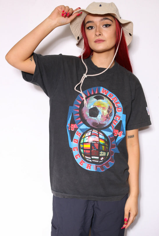 90'S NIKE NAVY WITH WHITE OUTLINED SWOOSH TEE *SMALL MARKS THROUGHOUT* (L)