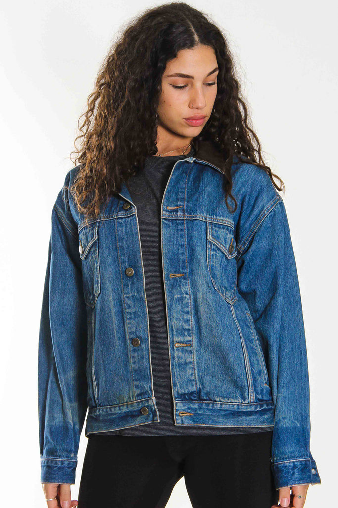 90S MARLBORO LEATHER COLLAR DENIM JACKET (M)