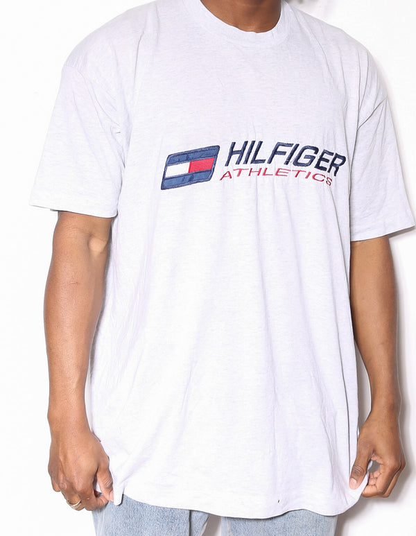 90'S NIKE BLACK WITH SILVER SWOOSH TEE (L)