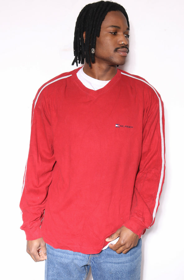 90'S BEACH CLUB FADED FLURO ORANGE WITH SQUIGGLE VERTICAL STRIPES S/S SHIRT (M)