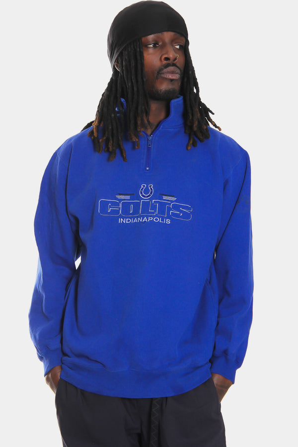 90'S INDIANAPOLIS COLTS EMBROIDERED 1/4 ZIP BLUE SWEATSHIRT (X-LARGE) *FAINT DISCOLOURATION