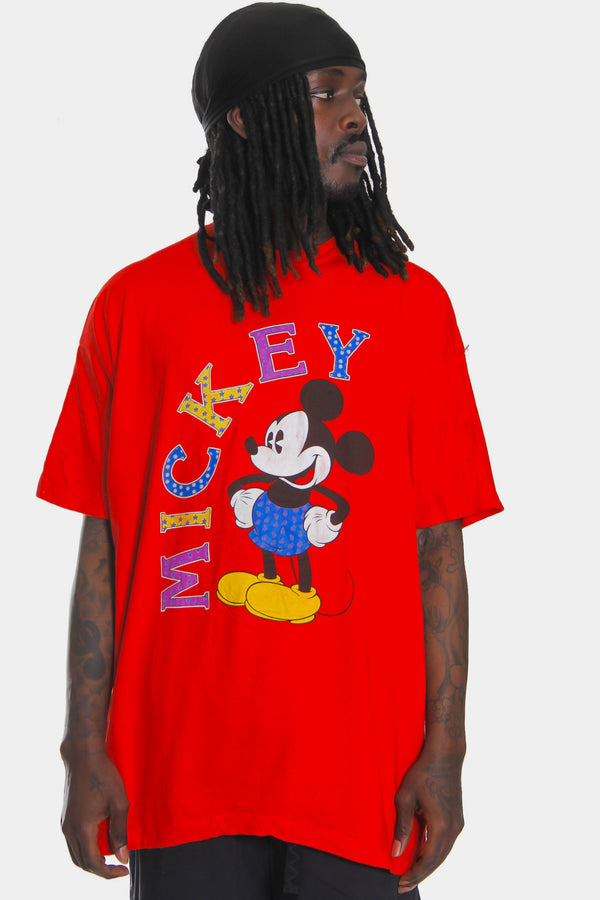90'S DISNEY MICKEY MOUSE DISTRESSED PRINT RED TEE (XXL) *NO SIZE TAG