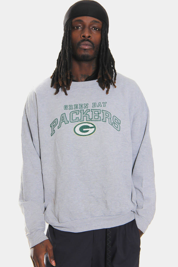 90'S GREEN BAY PACKERS DISTRESSED PRINT GREY SWEATSHIRT (X-LARGE) *MARKS THROUGHOUT