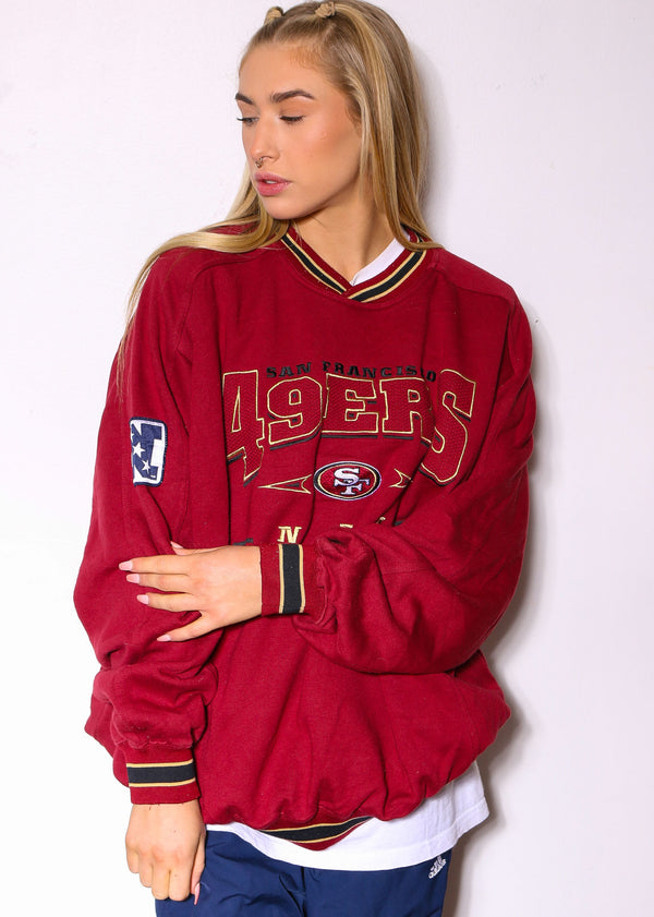 90'S RALPH LAUREN BLUE WITH RED PONY SWEATSHIRT *MARKS THROUGHOUT* (X-LARGE)