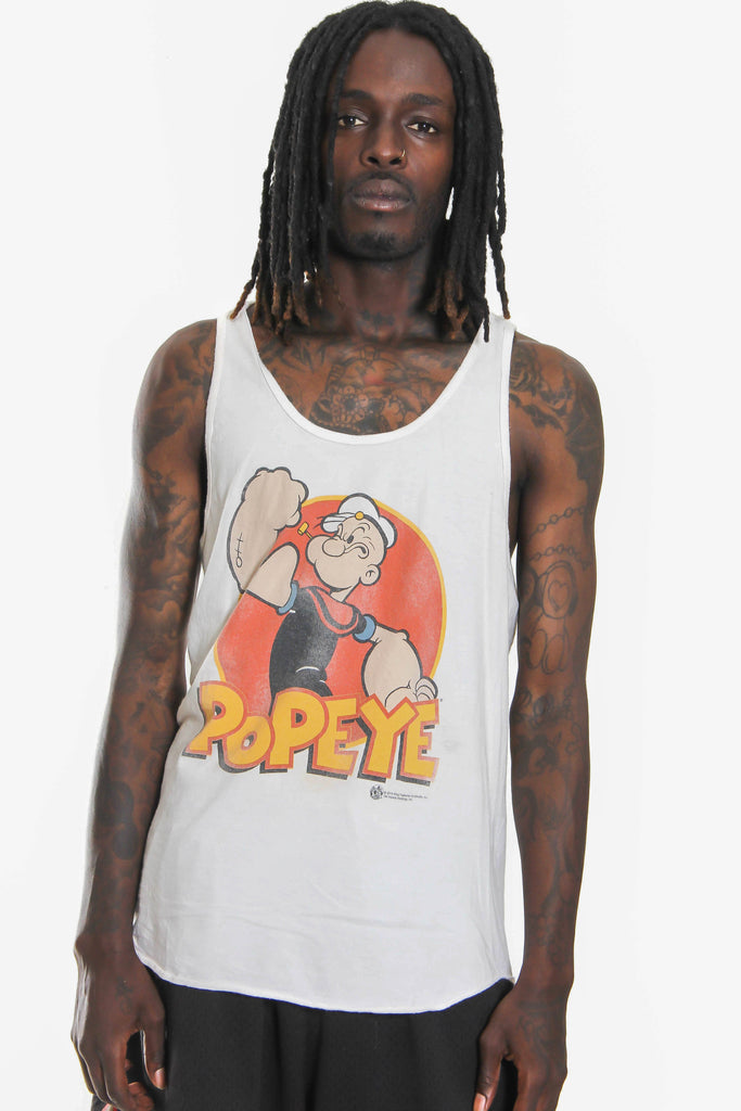 10S WALT DISNEY WORLD POPEYE THE SAILOR DISTRESSED PRINT SINGLET (L) *SLIGHT MARKS ON FRONT