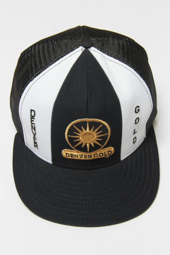 DEADSTOCK 90'S DENVER GOLD USFL AID MESH SNAP BACK CAP (L)