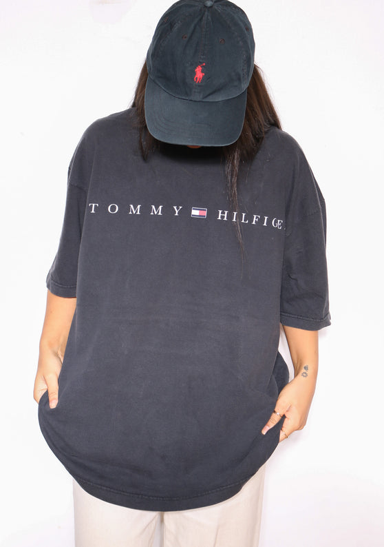 90s RALPH LAUREN GREEN SPELLOUT SWEATSHIRT (L) *MISSING TAG, MARKS ON FRONT