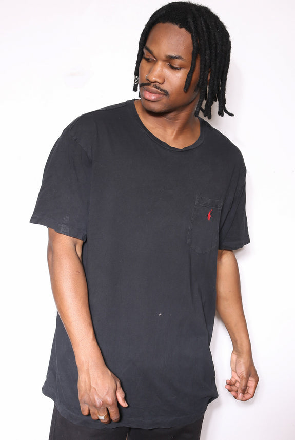 90'S TOMMY HILFIGER JEANS RED WITH LOGO RIBBED TEE *DISCOLOURATION ON SLEEVES* (M)
