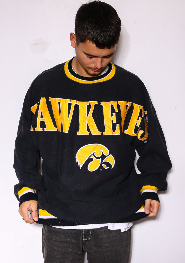 90'S RALPH LAUREN POLO ITALIA EMBROIDERED 1/4 ZIP HOODED SWEATSHIRT *MARKS ON FRONT* (X-LARGE)